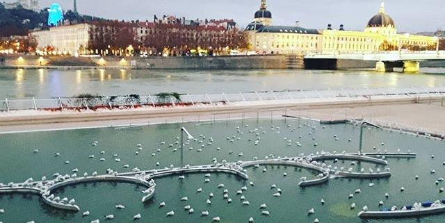Lyon - la piscine du Rhône en hiver