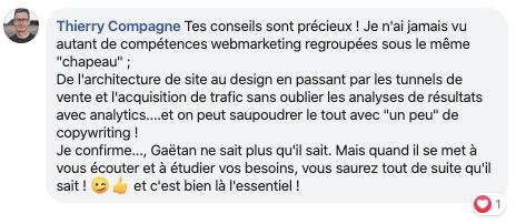 Témoignage Thierry Compagne - Coaching webmarketing Gaétan d'Yvoire