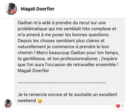Témoignage Magali Doerfler – Coaching webmarketing Gaétan d'Yvoire